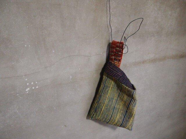 裂き織り/黄×青のあじろ織り ミニバッグ  (+orimi)の画像1枚目