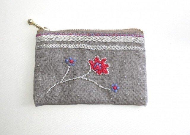 銀花刺繍のカードポーチ(ナチュラル)の画像1枚目