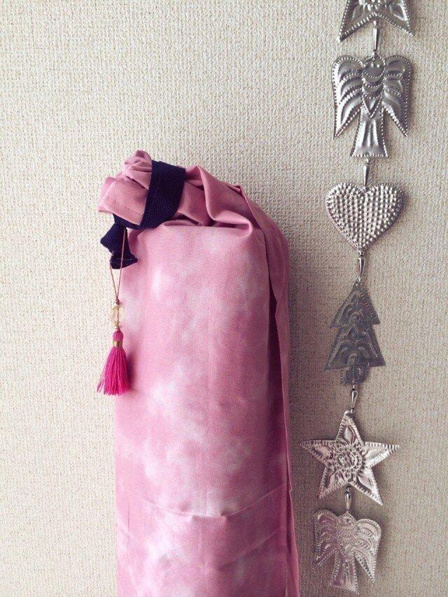 ダイダイ柄のヨガマットケース ピンクSの画像1枚目
