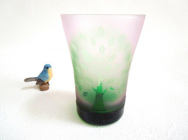 木と小鳥のグラスの画像1枚目