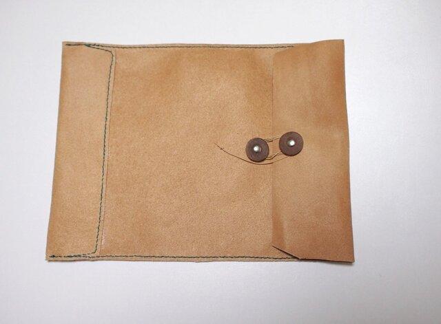 トスカーナ床革のマニラ封筒 A4ファイル対応 水色糸Bの画像1枚目