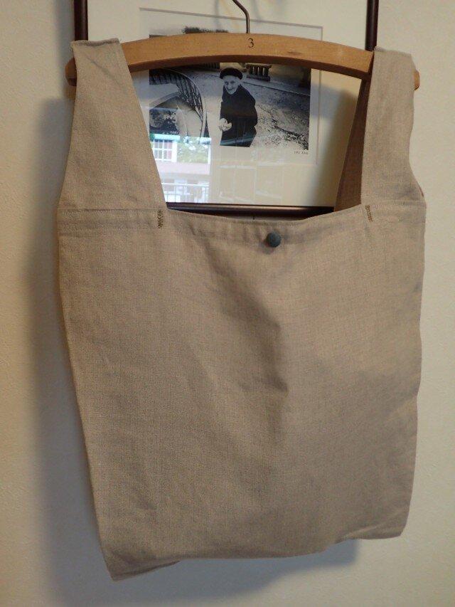 リネンの買い物 エコバッグ その2 ベージュの画像1枚目