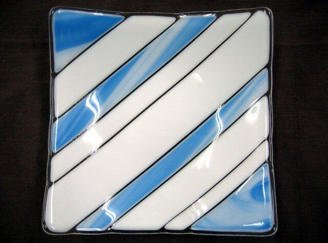 水色リボンのガラス皿 SD135の画像1枚目