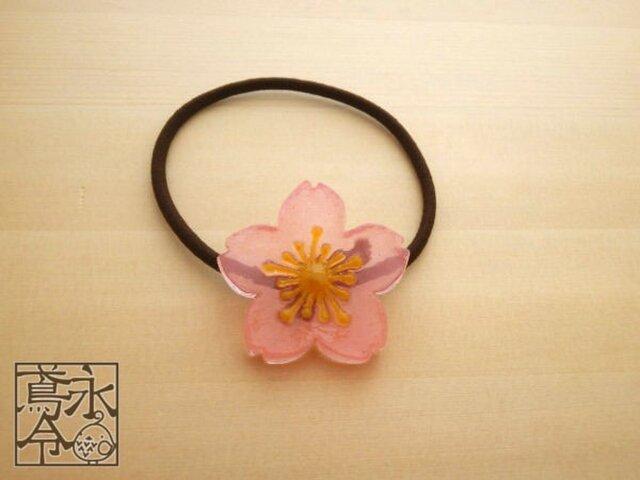 髪ゴム 透明ピンクの桜の花の画像1枚目