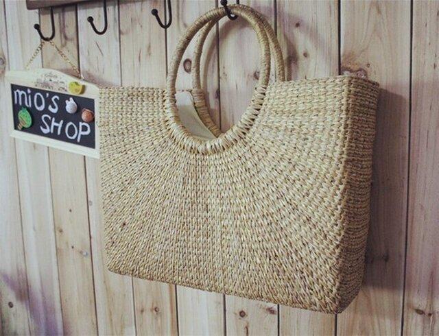 【受注製作】草の自然な香り 手編トートカゴバッグ B3154の画像1枚目