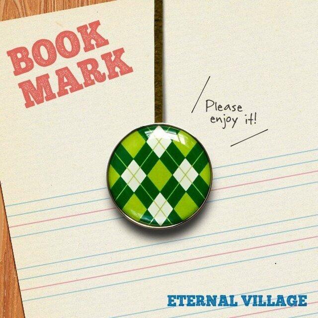 「アーガイルチェック柄のブックマーク(緑)」no.31の画像1枚目