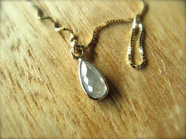 White Diamond Tear Drop Necklaceの画像1枚目