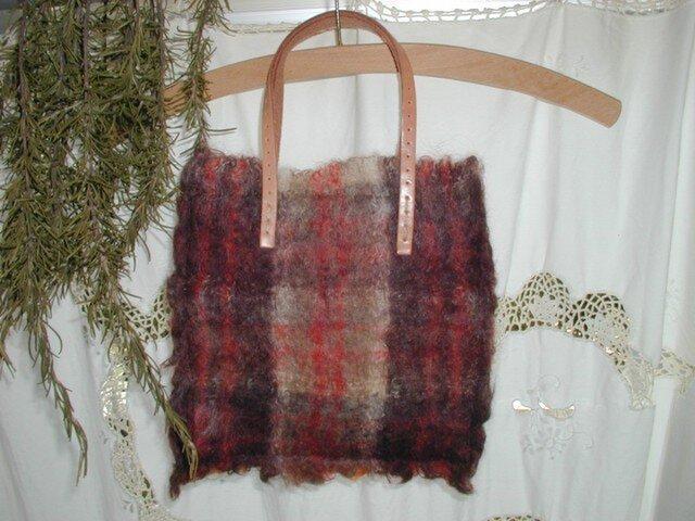 Wool・petit・Bag (ブラウン系チェック)の画像1枚目