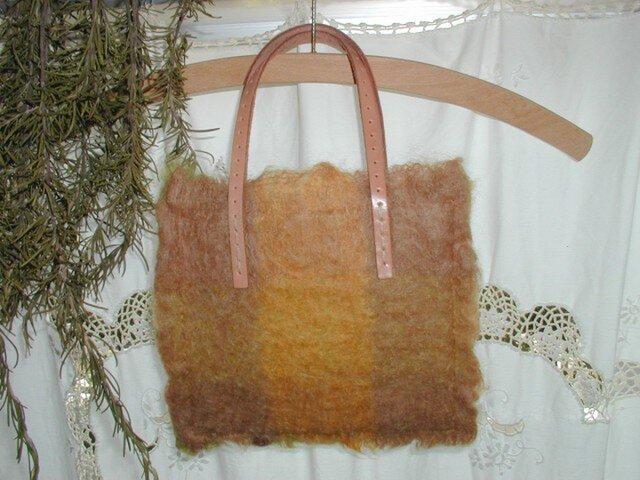 圧縮Woolのプチbag(イエロー・グリーン系チェック)   の画像1枚目