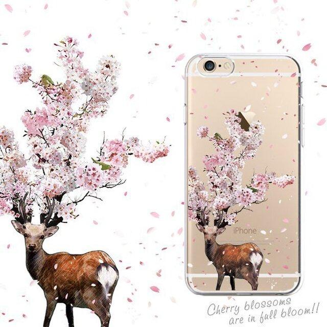 鹿桜プリントケース iPhone11 iPhoneケース各種 スマホケースの画像1枚目