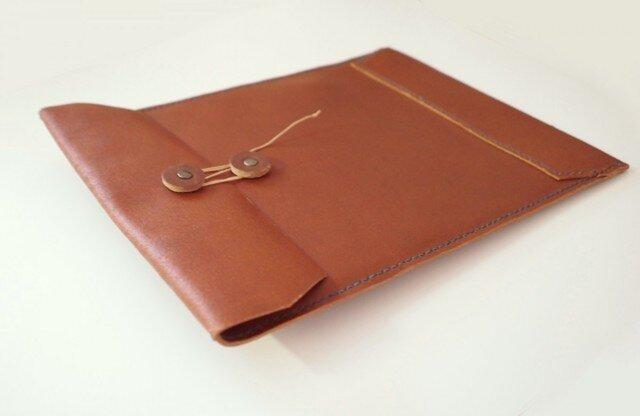 【再販】トスカーナ床革のマニラ封筒 A4ファイル対応 茶革翠糸の画像1枚目