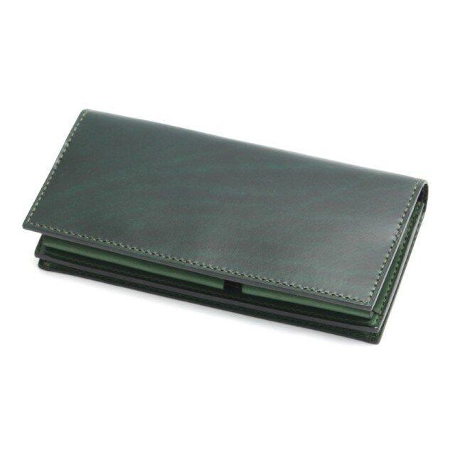 ボタンポケットの長財布(カラー:Green × Green)の画像1枚目