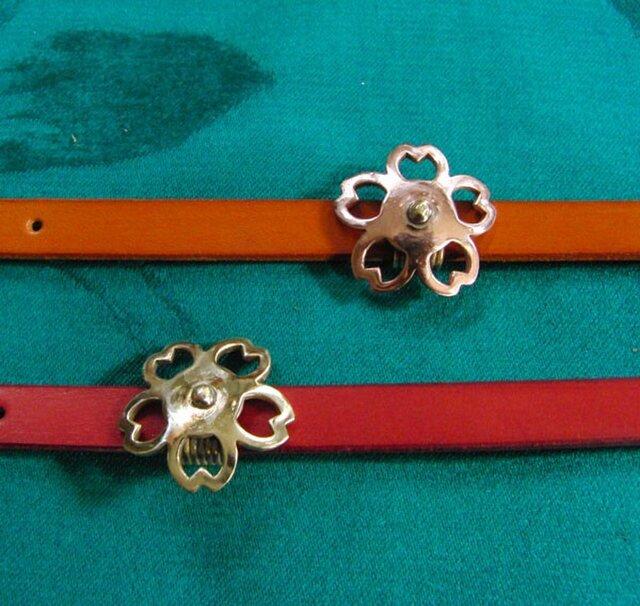 真鍮製or銅製どちらか選択可能 和風桜花デザイン帯留め 着物や浴衣の帯締め飾りにの画像1枚目