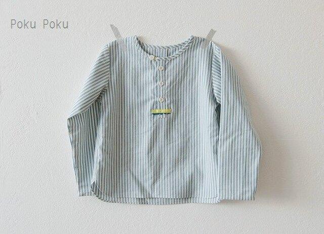 ストライプのヘンリーネックシャツ☆90サイズの画像1枚目