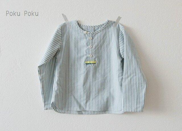 ストライプのヘンリーネックシャツ☆120サイズの画像1枚目