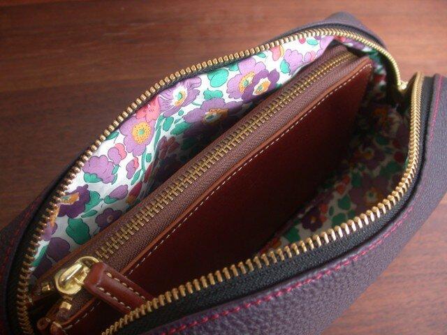 3way長財布ポシェット、シュリンクレザー×リバティ...紫の画像1枚目
