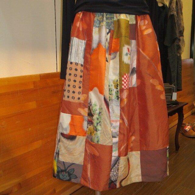秋色の銘仙deリメイクスカート☆晩秋の京都へいかがですか♪の画像1枚目