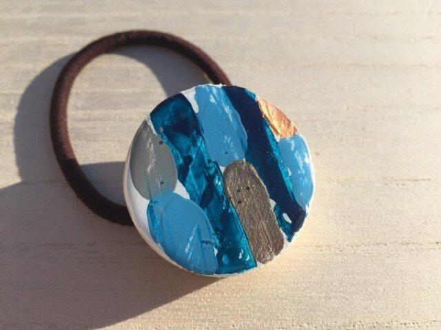 wood hair elastic: sea blueの画像1枚目