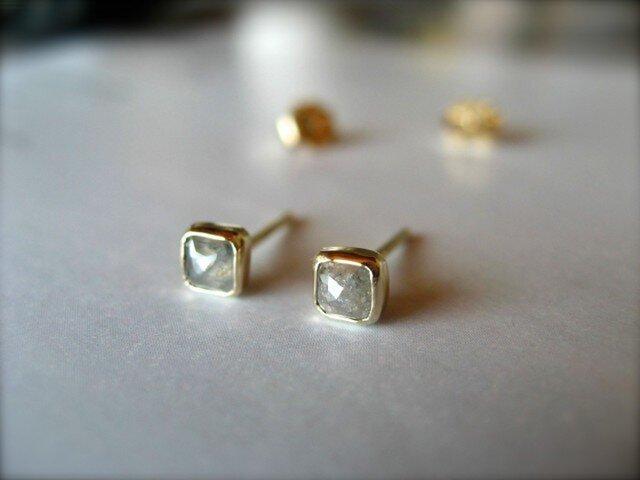 Silver Diamond Square ピアスの画像1枚目