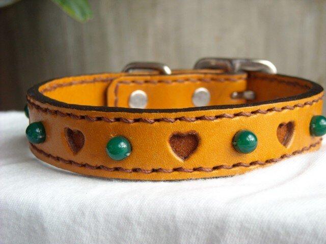 犬の首輪(緑メノウ)の画像1枚目