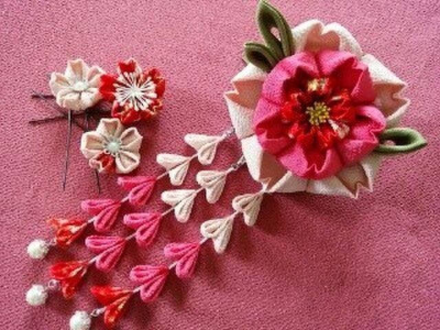 大輪の桜の2wayクリップとUピンセット(白)の画像1枚目