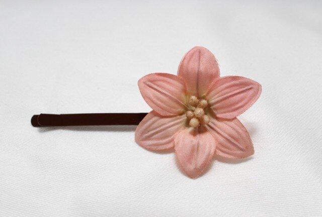 シングルフラワーヘアピン(ピンク)の画像1枚目