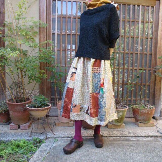大島紬4種プラス銘仙でリメイクスカート☆秋の夕陽に照る山紅葉♪の画像1枚目