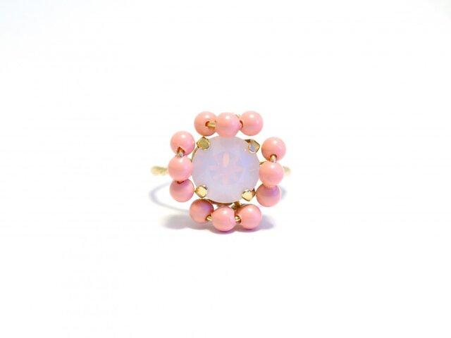 スワロフスキー ビジュー リング < coral pink >の画像1枚目