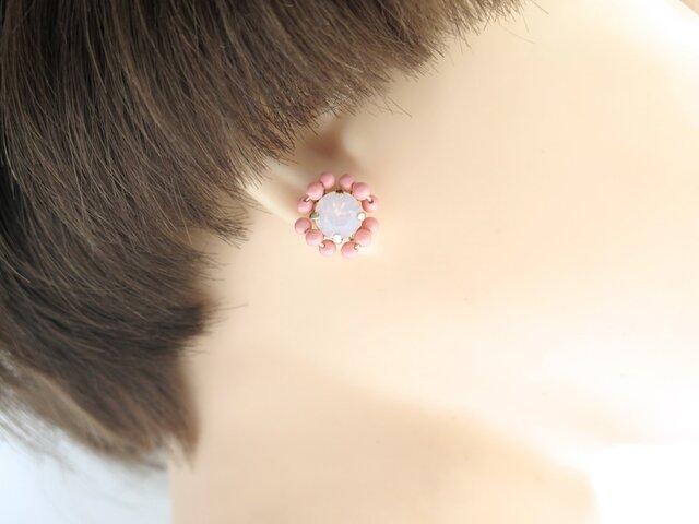 スワロフスキー ビジュー ピアス < coral pink >の画像1枚目