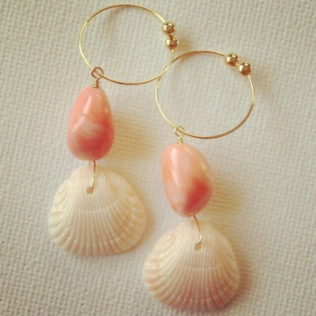 shell*coral earringの画像1枚目