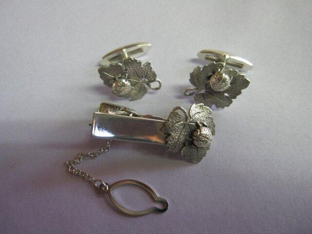 Silver<てんとう虫>カフス・タイホルダ-セットの画像1枚目
