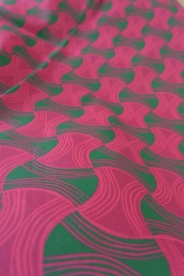 オリジナルコットン生地1ヤード(ピンク×グリーン)の画像1枚目