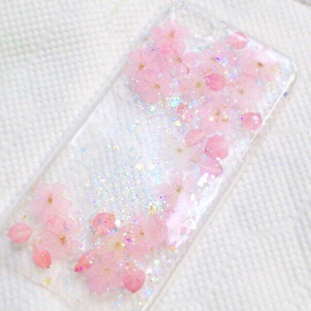 ピンクバーベナ 桜風 春の押し花スマホケースの画像1枚目