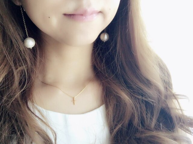 【14kgfピアス変更可】Cotton pearl simple Pierceの画像1枚目