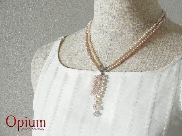 ピンク&ホワイトのベビーパールネックレスの画像1枚目