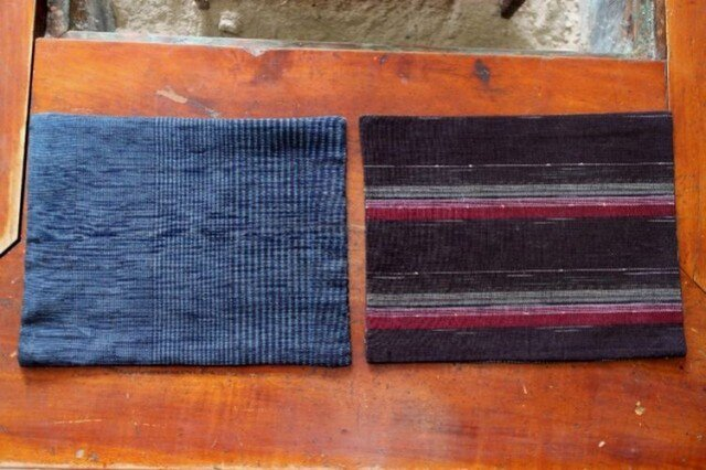 【SALE】縞紬 綿の絣(C) ソーサー二枚組セットの画像1枚目