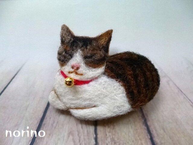 ■羊毛フェルト箱座り猫ちゃんブローチ■の画像1枚目