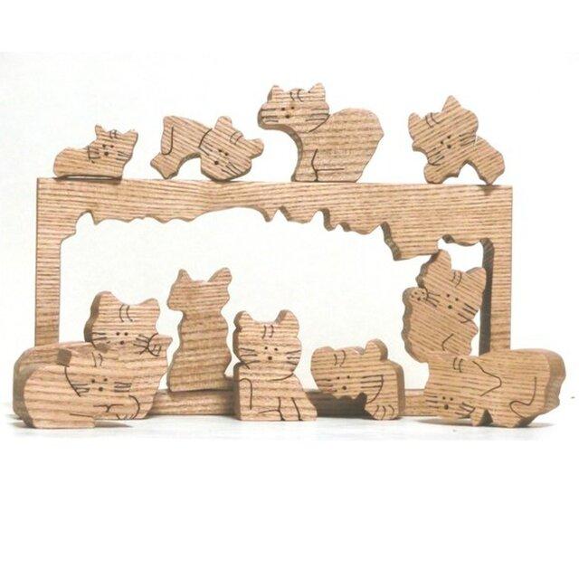 猫のパズル(組木)の画像1枚目