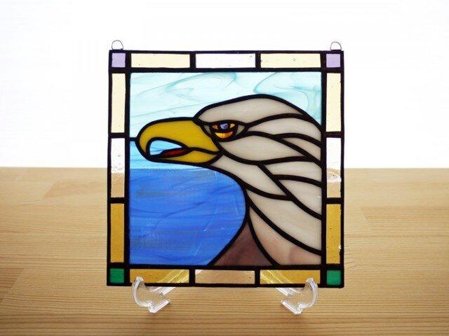 ステンドグラス ミニパネル イーグル 15cmの画像1枚目