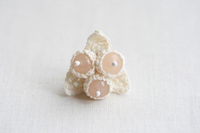 リネンx天然石 木の実のピンブローチの画像1枚目