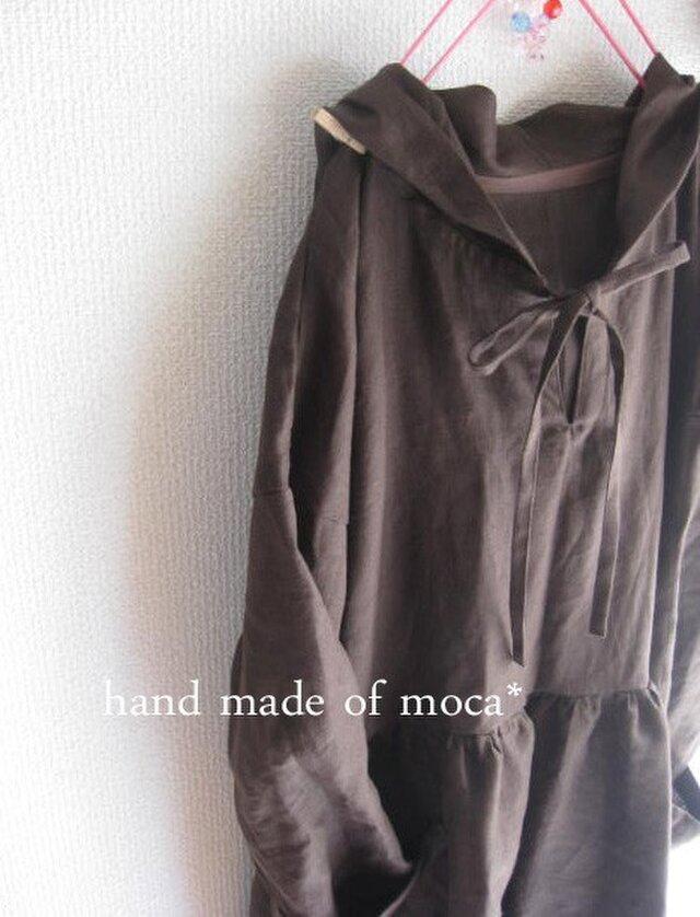 【受注製作】W50長袖前ヒモリボンフード付きリネンワンピース★濃茶の画像1枚目