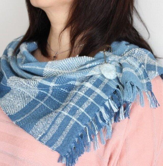 手織り 藍染めミニミニstole Bの画像1枚目