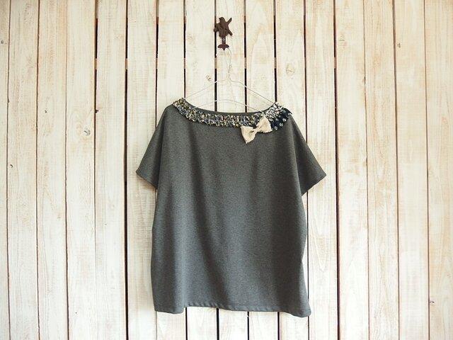 コラージュTシャツ/チャコール Aの画像1枚目