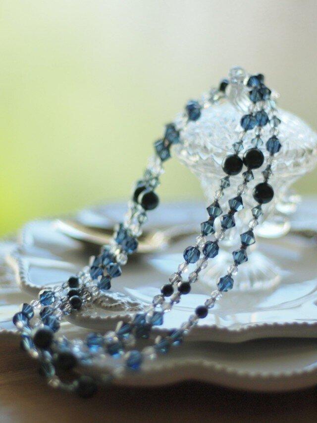 Swarovski * 黒蝶真珠色のネックレス * ネイビーの画像1枚目