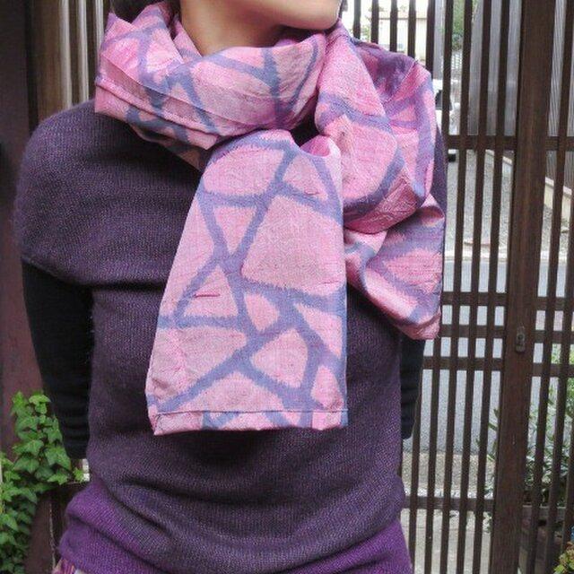 銘仙でサラサラストール☆お顔を明るく見せる綺麗なピンクです♪の画像1枚目