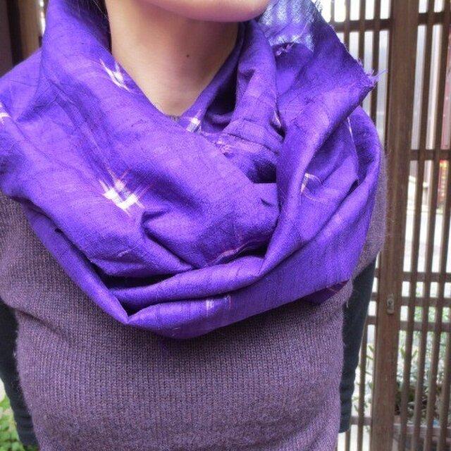 春の兆しを感じて・・・紺紫の粒々銘仙で輪っかストール☆の画像1枚目
