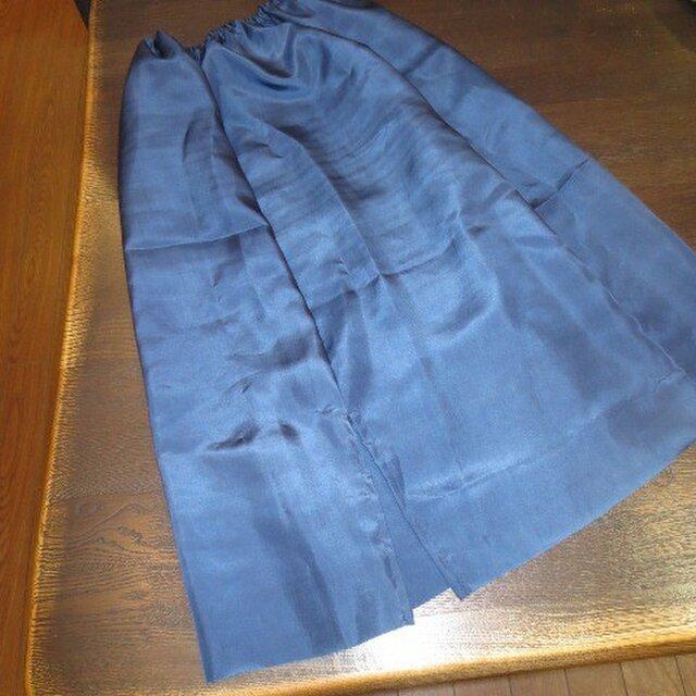 紺色絹地でペチコート☆銘仙スカートのインにどうぞ♪の画像1枚目