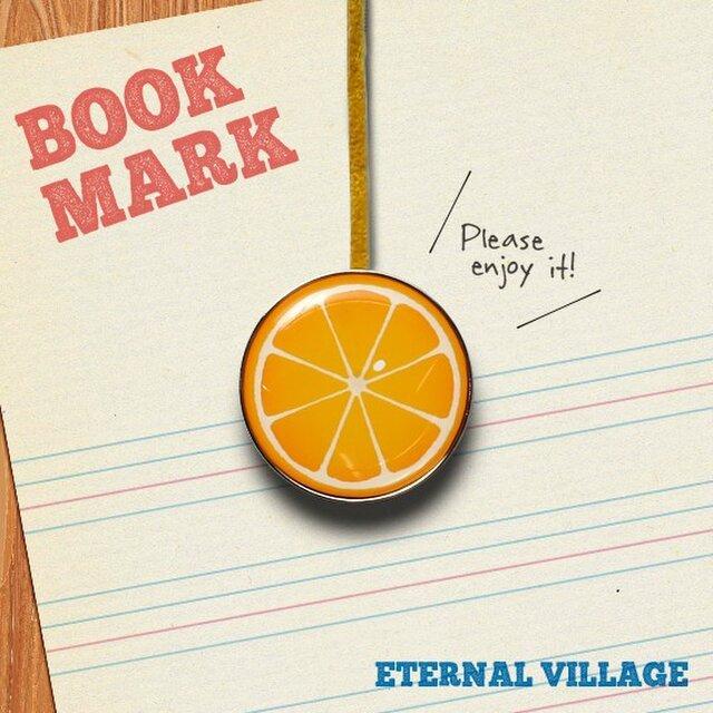 「オレンジ柄のクリップ型ブックマーク」no.023の画像1枚目