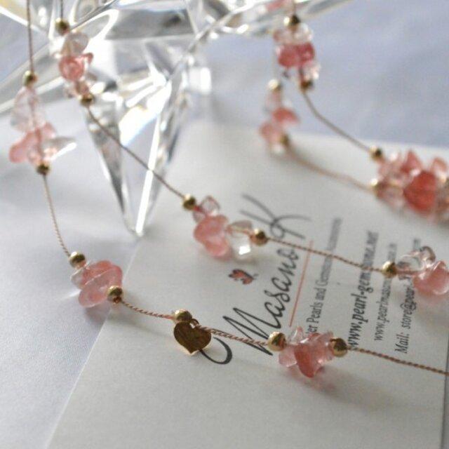 Cherry Quartz Long Necklaceの画像1枚目