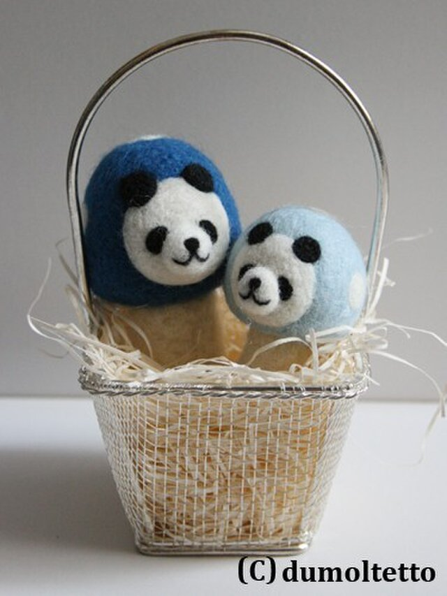 羊毛フェルトキノコパンダのマスコット兄弟セット(青)の画像1枚目